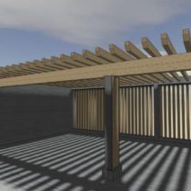 Pergolas brises soleil en surface du parking de Coaraze